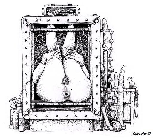 buttsex slave in a steel box