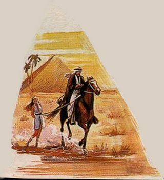 captive of a rough arab, dragged along though the desert tied to his horse