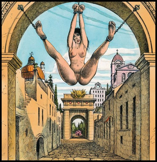 naked woman chained to a triumphal arch on a public street with her naked pussy hanging down for everyone to play with