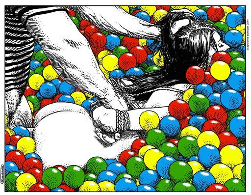 rope bondage sex in the ballpit