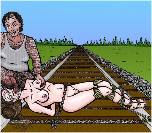 damsel tied naked to the railroad tracks sucks villain balls in an attempt to bribe her way to freedom