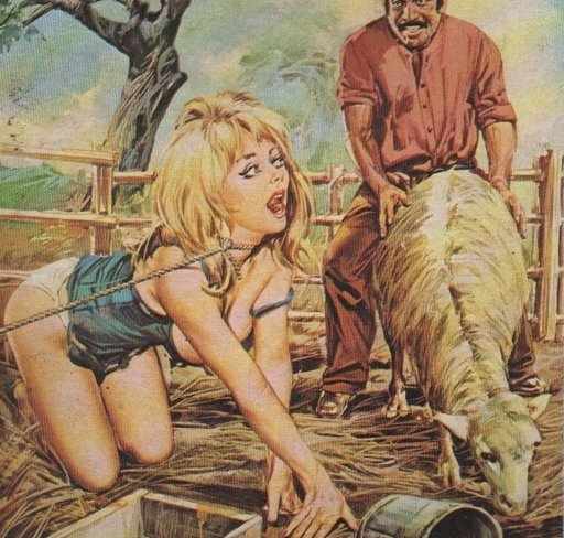 blonde beauty tied in a sheep pen