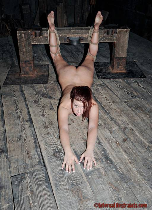 tied for a severe foot caning