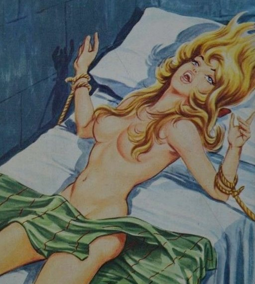 blonde tied to a bed