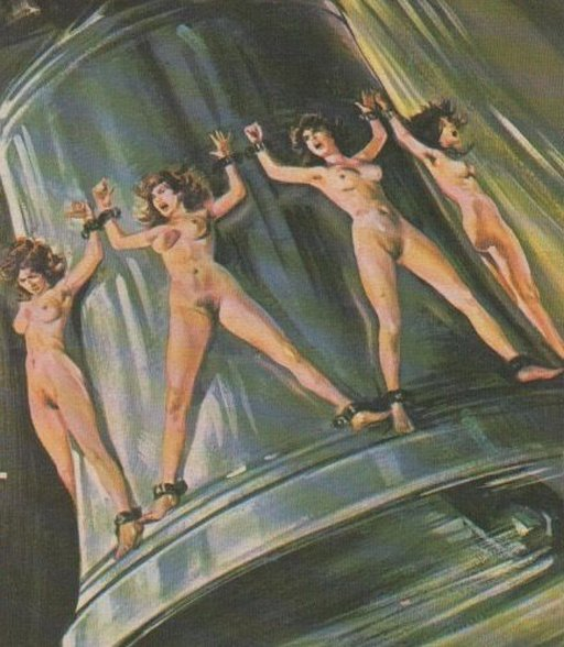 nude women chained to the outside of a huge wildly-swinging bell