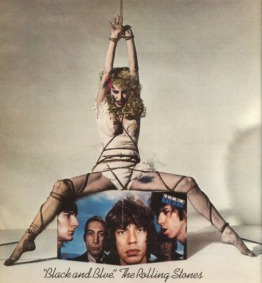 tied up woman in Rolling Stones ad for Black and Blue album