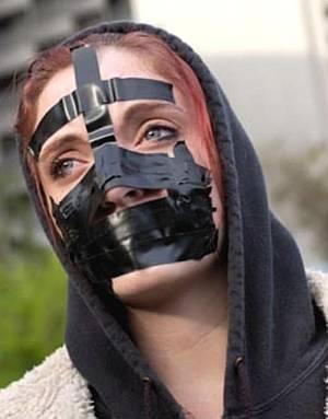 black tape gag