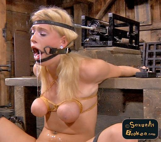 Allie James all exhausted after a long day in the blowjob machine shed