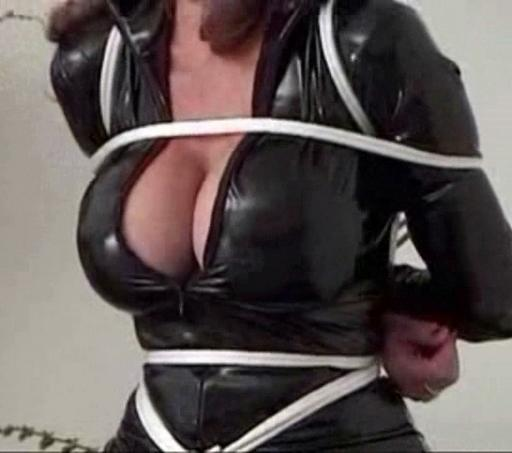 big boobs, rubber catsuit, white rope