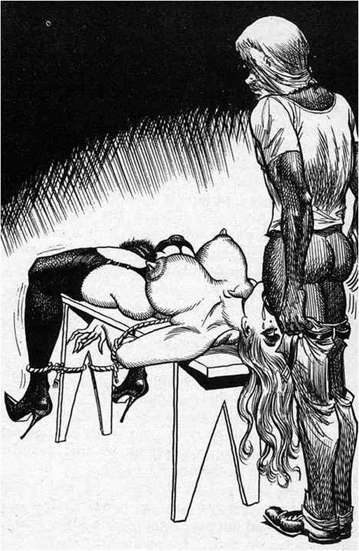 deep throating a woman tied to a bondage bench