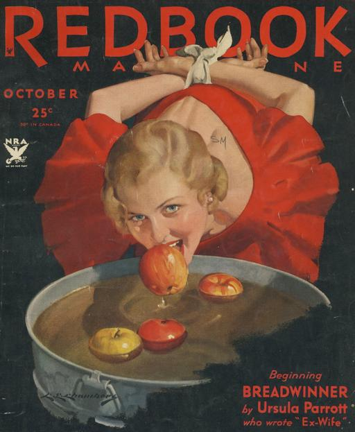 bobbing for apples with her hands tied behind her back