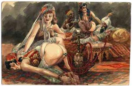 smoking hash or opium or tobacco through a slave girl\'s bondage enema water