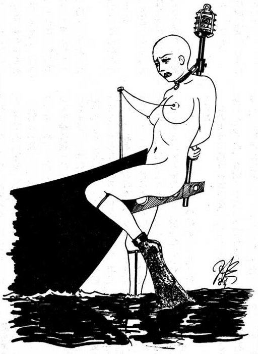 chained to the bowsprit as a modern bondage figurehead