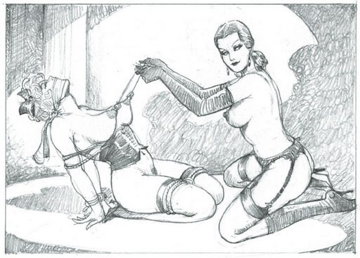 tied up woman getting her nipples tugged with nipple clamps