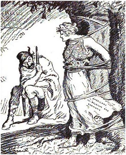 bondage propaganda from WWI - America tied to a tree while the kaiser points a gun at her
