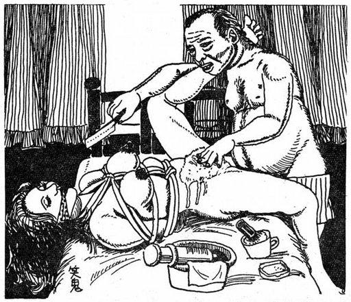 bondage pussy shaving with a straight razor