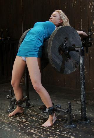 bent over backwards for boob torture
