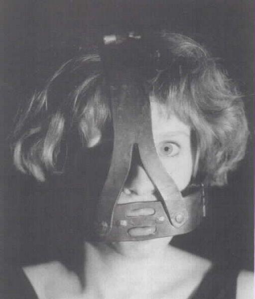 woman wearing a steel brank
