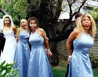 Gags and bondage for the bride and all her bridesmaids