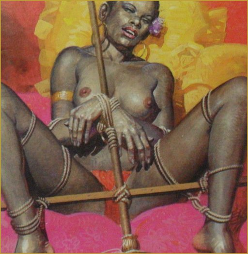 black woman tied toa broom