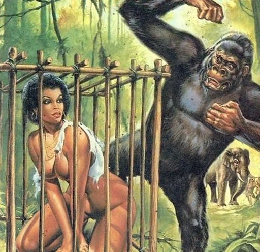 woman trapped in a cage meant for apes and monkeys