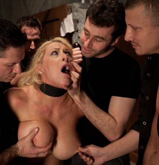 Candy Manson is grabbed and stripped in the male bathroom by rude biker assholes