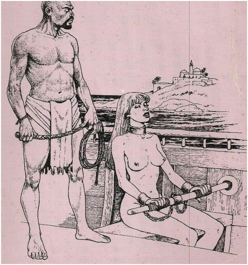 naked woman chained to an oar and under the whip