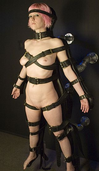 tight leather bondage straps