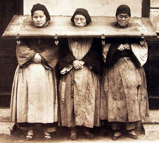 three women held by the neck in Chinese stocks