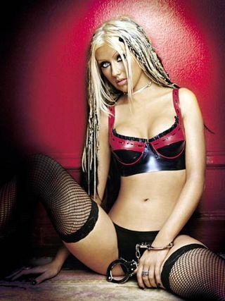 Christina Aguilera in latex panties