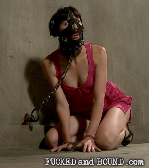 Coral Aorta hooded and chained at the new Fucked and Bound
