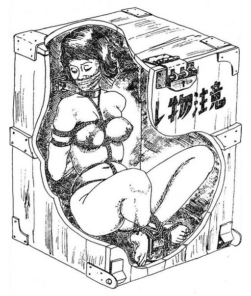 crated girl in rope bondage boxed for shipping