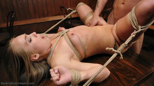 DiD stripped, re-tied, and fucked in bondage