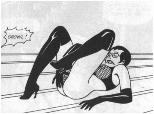 fishnet dominatrix teases her sub by masturbating