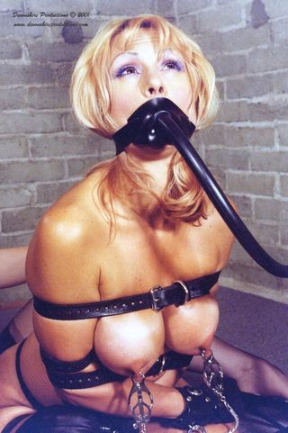 hose-bondage girl worrying about what\'s being connected to her hose