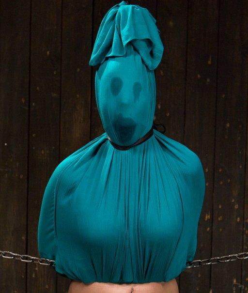 dress tied over her head