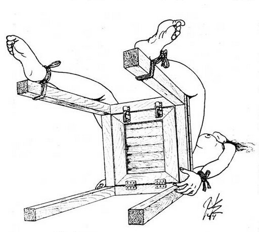 drop seat bondage chair with hinged trap door in the seat