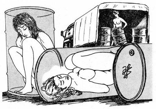 slave girls hidden in steel drums