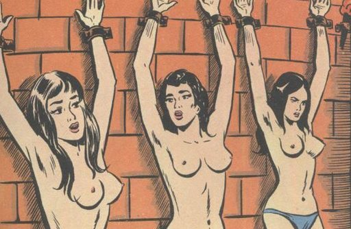 three beauties shackled to a dungeon wall