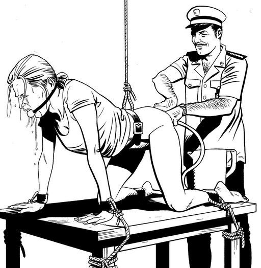 uniformed police or army interrogator using high hot soapy enema as a tool of interrogation