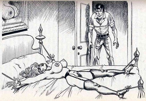 man with glum face contemplates woman spreadeagled on his bed with arms and legs tied to the bedposts with ropes