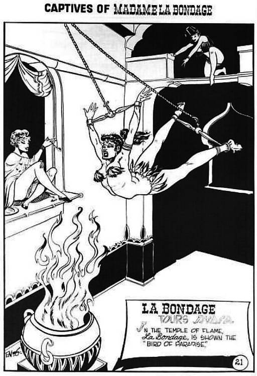 swinging through the flames, in bondage