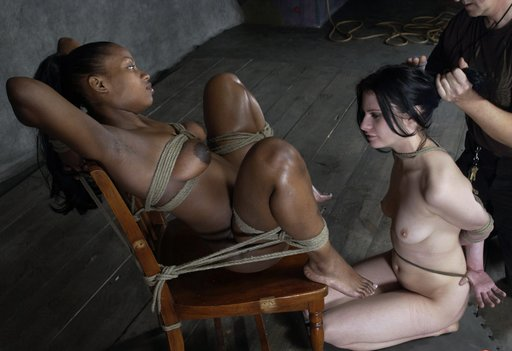 forced bondage lesbianism as pissed off white girl has to lick black pussy