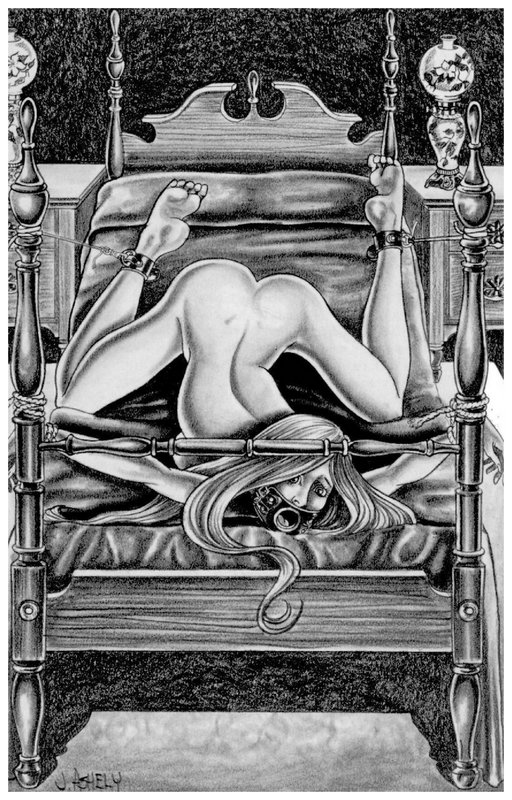 She's trussed to a four-poster bed with her mouth open for forced bondage blowjobs
