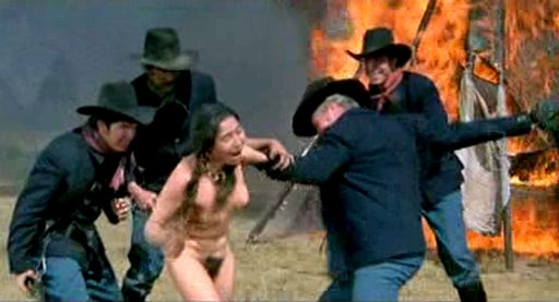 four soldiers stripping an Indian woman as her tipi burns behind her