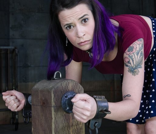 freya french shackled to the punishment post and getting concerned