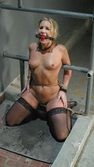 slavegirl bound kneeling in a mysterious puddle of fluids