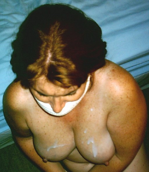 his jizz on the tits of his well-gagged wife