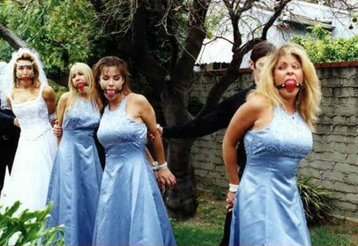bride and bridesmaids bound and gagged