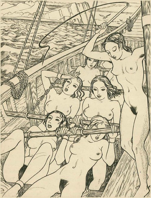 naked girls chained to the oars of the war galley